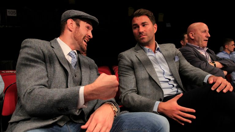 Eddie Hearn (R) is making plans for Johsua although Tyson Fury (L) may no longer be part of them