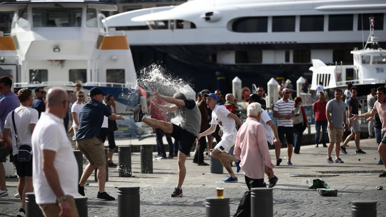 England fans clashed in violent confrontations with Russia fans
