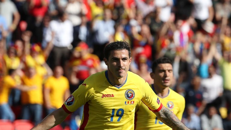 Romania's forward Bogdan Stancu celebrates after putting his side ahead