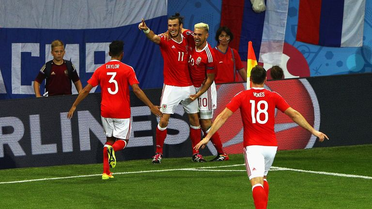 Gareth Bale (second left) completed a comfortable 3-0 win for Wales