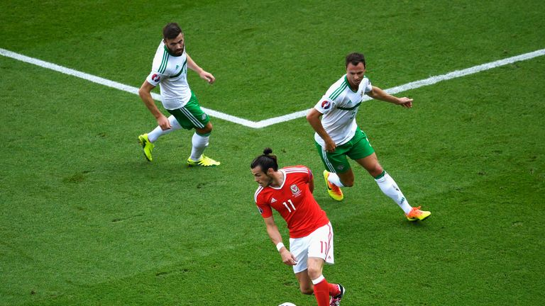 Stuart Dallas and Jonny Evans kept a close eye on Gareth Bale in the first half
