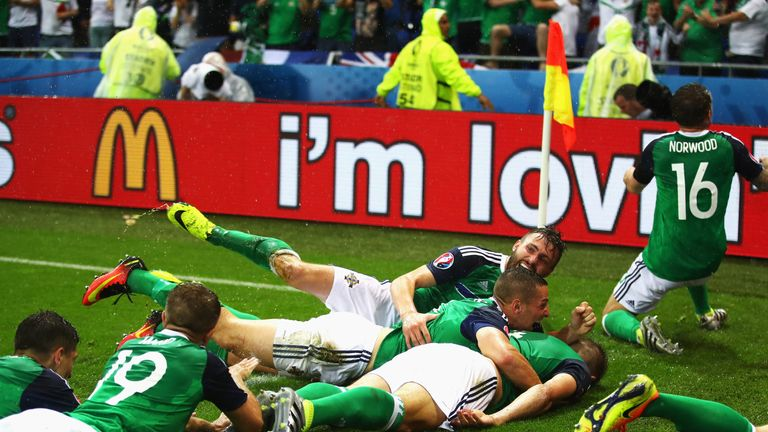 Northern Ireland celebrate Gareth McAuley's opening goal