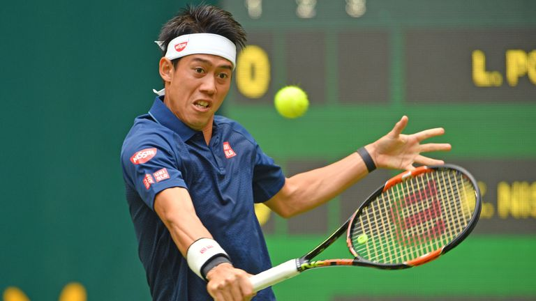 Kei Nishikori dropped the opening set against Lucas Pouille in Halle