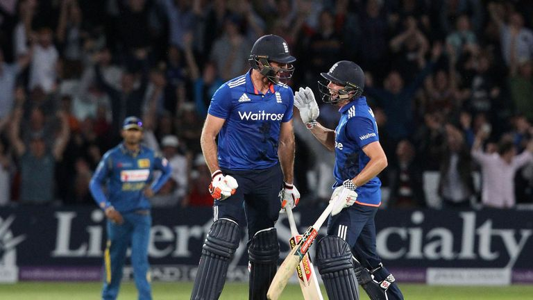 Chris Woakes (right, pictured celebrating the tie with Liam Plunkett) helped England to the tie at Trent Bridge