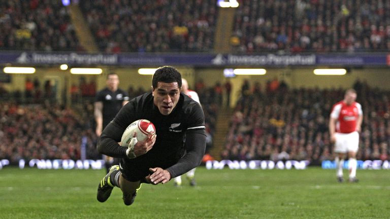Full-back Mils Muliaina crossed for New Zealand's second try in the match