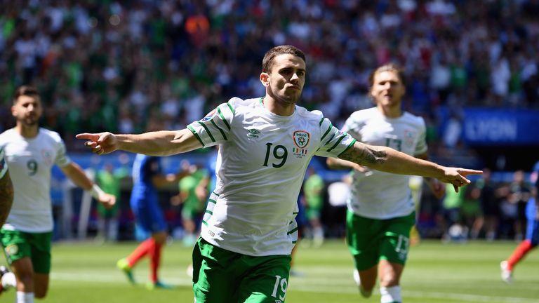 Robbie Brady celebrates scoring the opening goal for Ireland