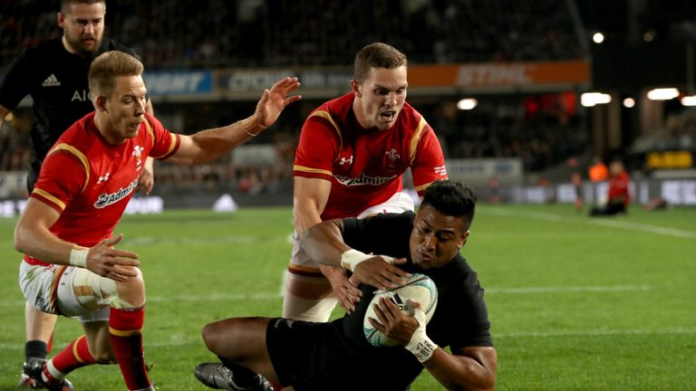 Julian Savea scores New Zealand's first try against Wales