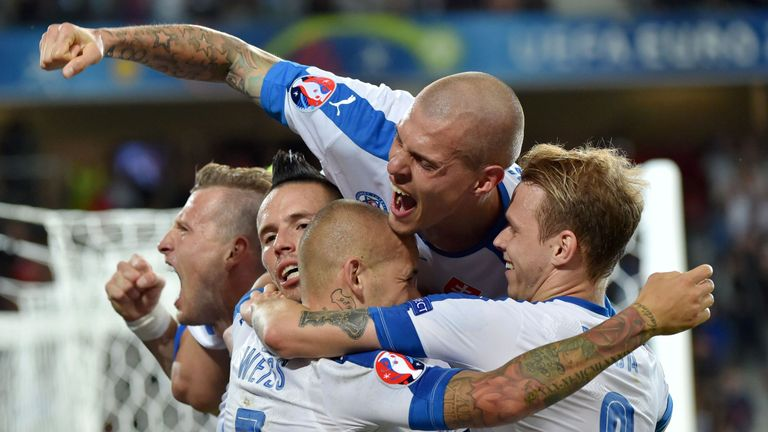 Slovakia's players celebrates their second goal