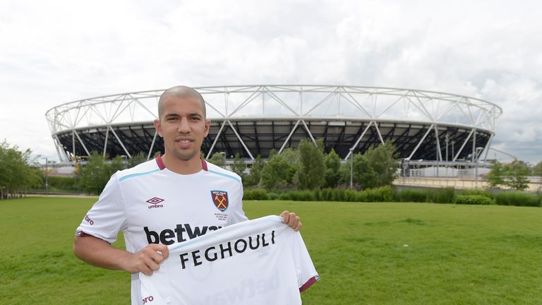 West Ham United unveil new signing Sofiane Feghouli at Queen Elizabeth Olympic Park on Tuesday