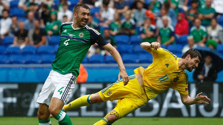 Ukraine's forward Yevhen Seleznyov could not quite connect to the ball