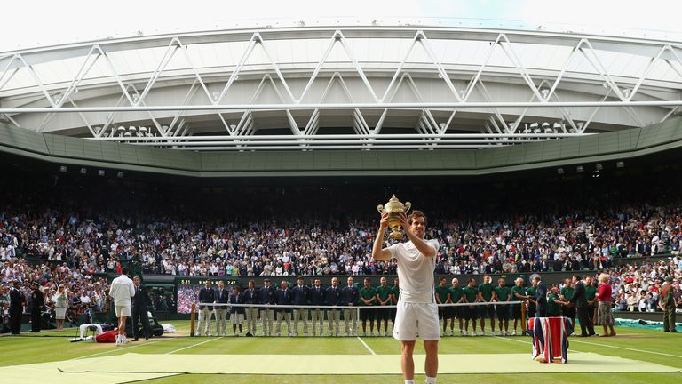 Andy Murray celebrates his second Wimbledon title