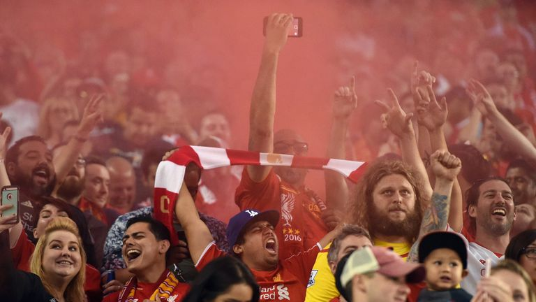 Liverpool fans cheer during International Champions Cup match with AC Milan