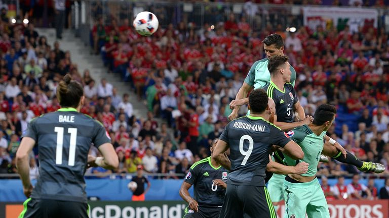 Portugal's Cristiano Ronaldo scores his side's first goal of the game
