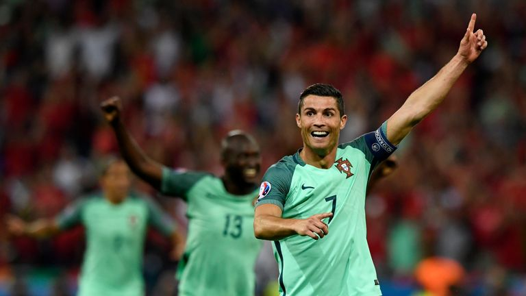 Cristiano Ronaldo scored the opening goal for Portugal against Wales in Lyon