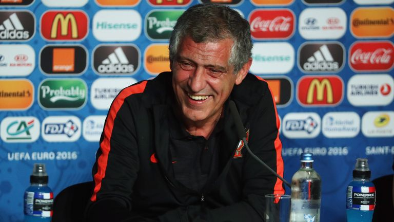 Portugal coach Fernando Santos was relaxed as he addressed the media before the final against France