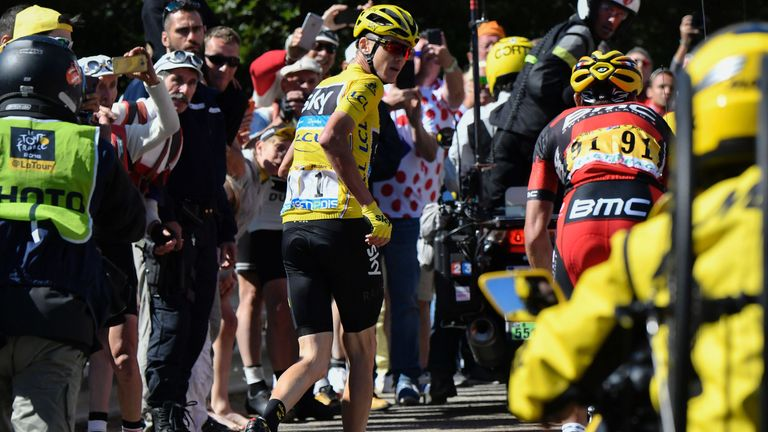 Froome was left without a bike in chaotic scenes on Mont Ventoux