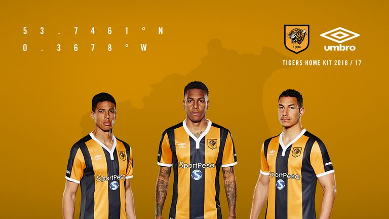 519482a6e Hull City s players model their new home kit for the 2016 17 season (Image