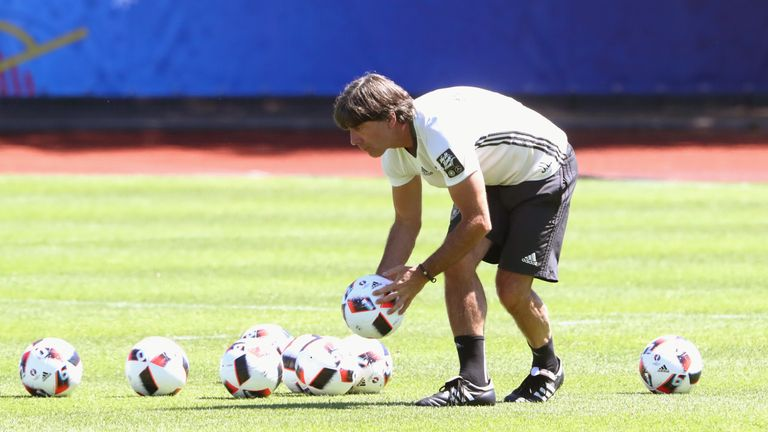 Germany coach Joachim Low oversees a training session in Evian on Monday