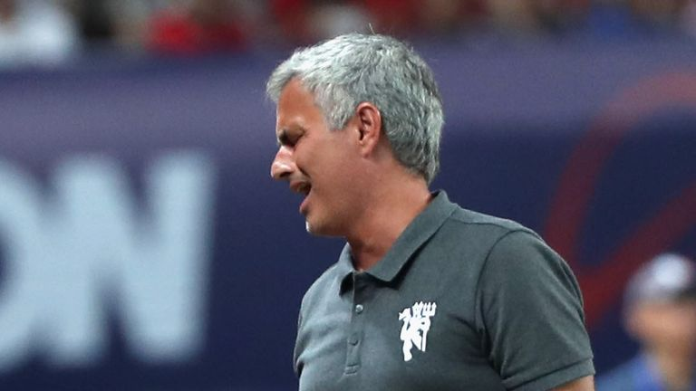 Man Utd manager Jose Mourinho reacts to his side's defeat in China