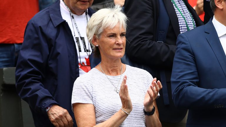 Judy Murray offered encouragement from the stands as her son Andy defeated Milos Raonic