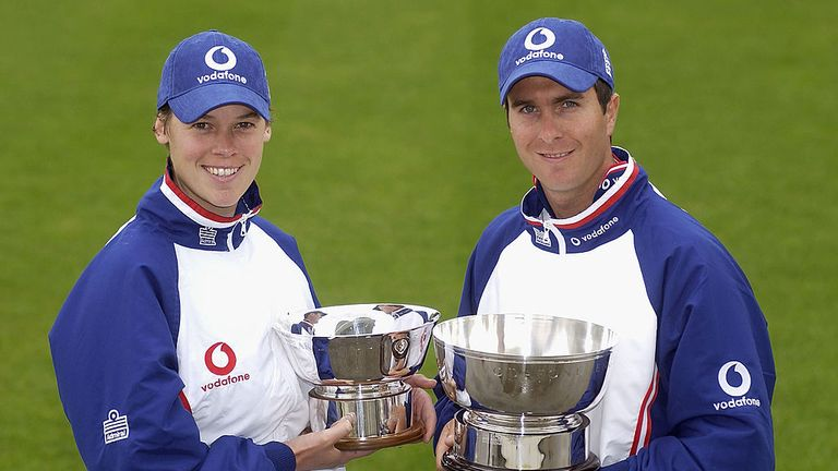 Lucy Pearson and Michael Vaughan with their 2003 England Player of the Year Awards