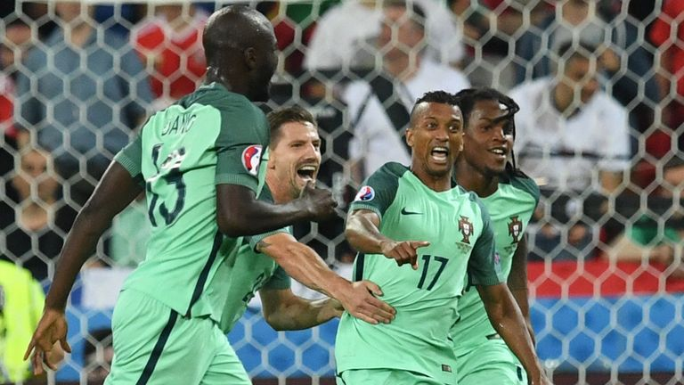 Nani wheels away in celebration after scoring Portugal's second