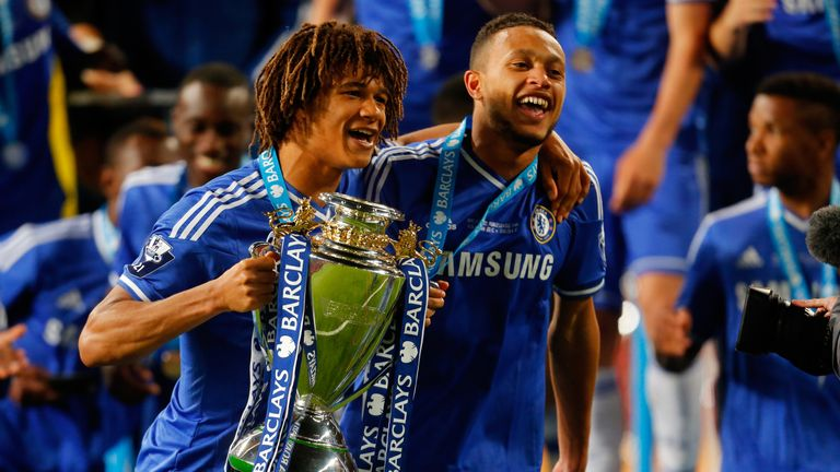 Nathan Ake (left) won the 2014 youth league with other Chelsea youngsters such as Ruben Loftus-Cheek and Lewis Baker (right)