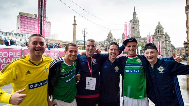 The Northern Ireland team pose for the cameras in George Square