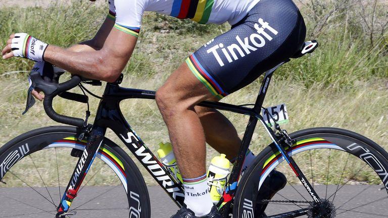 Sagan sporting hairy legs at the Tour de San Luis in January