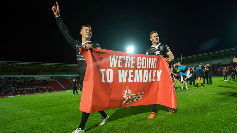 Jamie Shaul and Steve Michaels lead the celebrations after Hull FC's Challenge Cup semi-final win over Wigan