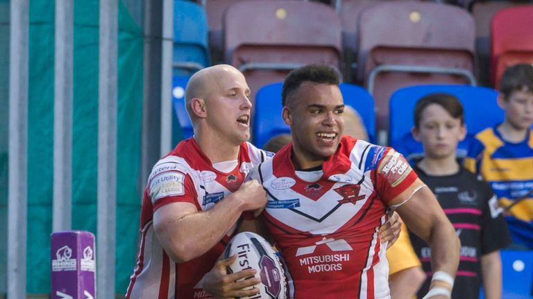 Salford's Mason Caton-Brown crossed twice in the defeat