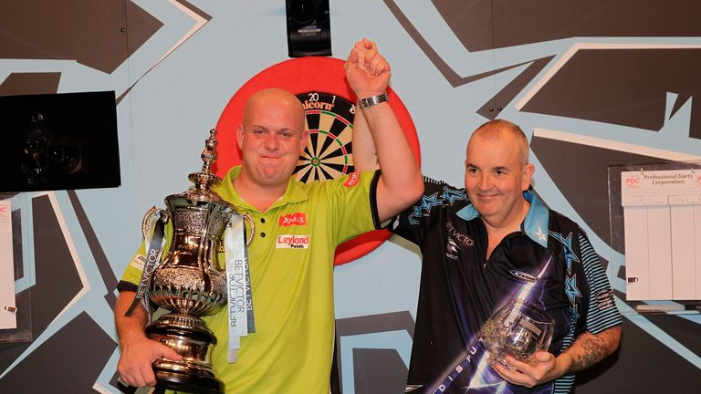 Michael van Gerwen (left) defeated Phil Taylor in the final