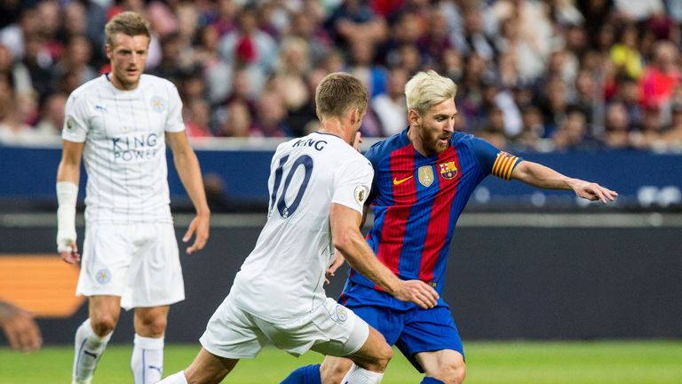 Messi in action in pre-season with Barcelona