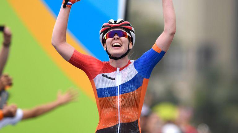 Anna van der Breggen won a three-rider sprint to claim gold