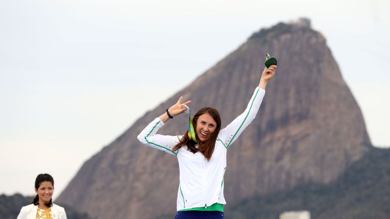 Annalise Murphy celebrates with her medal