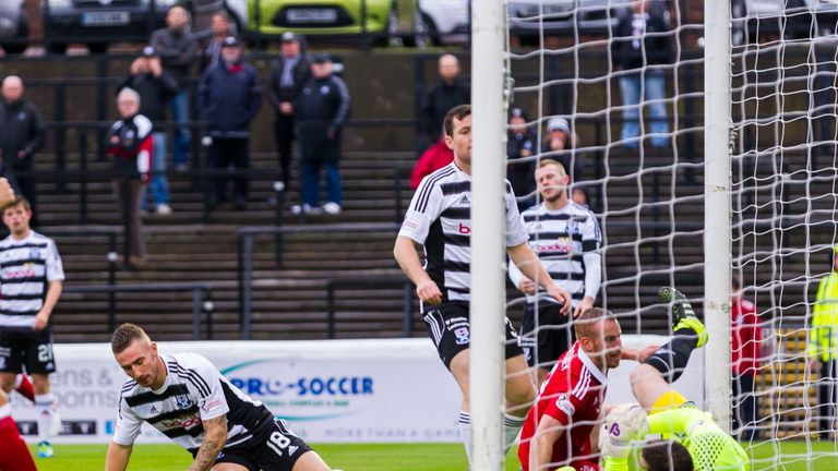 Ayr United's Daryll Meggatt (18) puts through his own net
