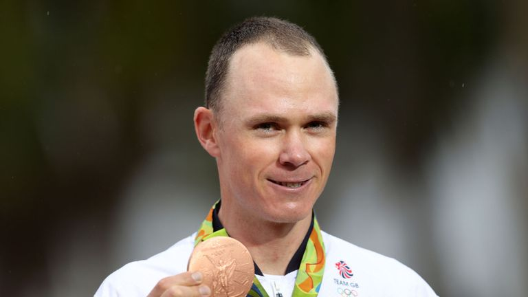 Chris Froome with his bronze medal from the 2016 Olympics