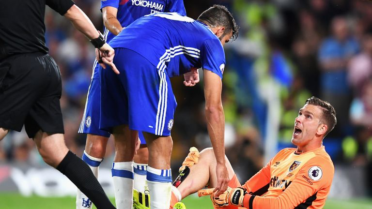Diego Costa was already booked when he fouled Adrian in the second half
