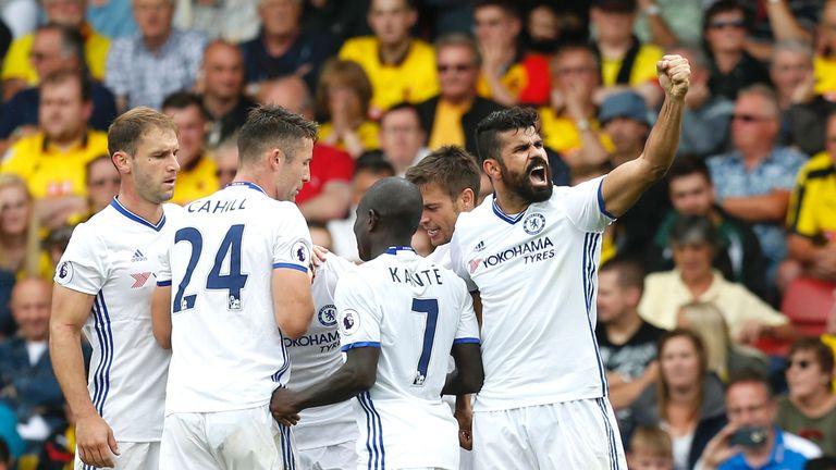 Diego Costa (R) celebrates scoring Chelsea's second goal