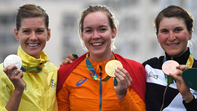 From left, Emma Johansson, Van der Breggen and Elisa Longo Borghini with their medals