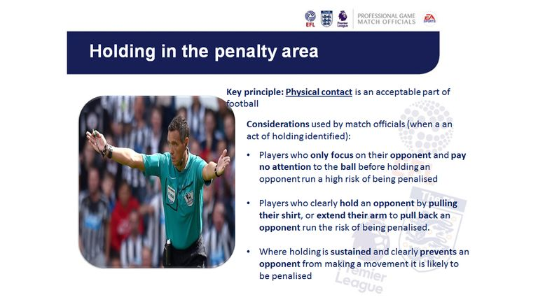 An FA refereeing directive on holding in the penalty area which was presented to players and managers before the 2016/17 Premier League season