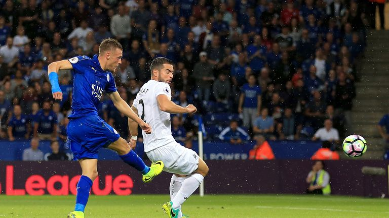 Jamie Vardy scored his first goal of the season for Leicester