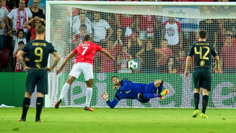 Gordon saves a penalty against Hapoel in a Champions League qualifier