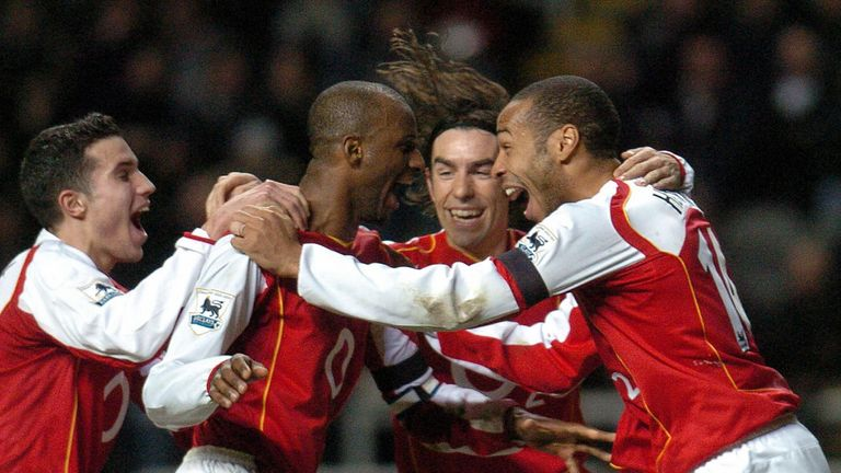 Patrick Vieira (L), Robert Pires (C) and Thierry Henry (R) were key for Arsenal