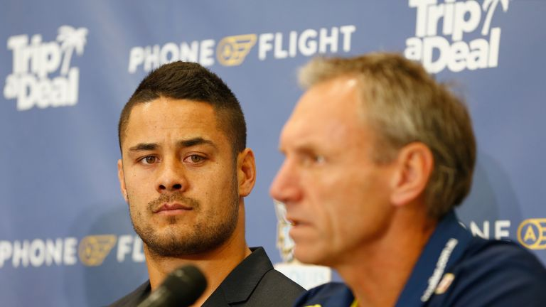 Jarryd Hayne with Titans coach Neil Henry during a press conference