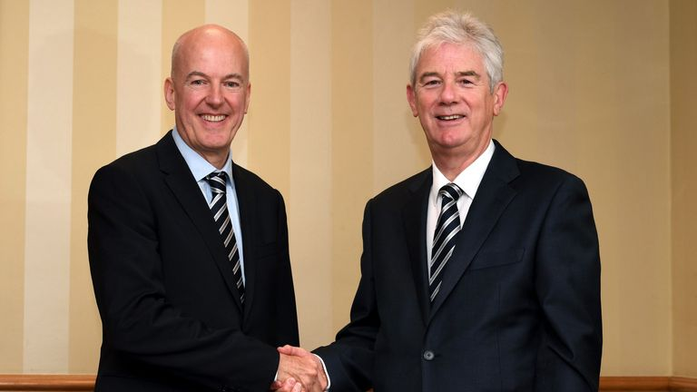 Jeremy Peace (left) is to step down as chairman of West Brom, with John Williams (right) taking over. Image: West Bromwich Albion