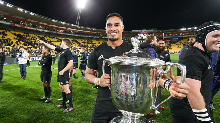 Jerome Kaino celebrates with the Bledisloe Cup in Wellington