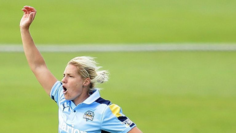 England's Katherine Brunt appeals for a wicket playing for Yorkshire Diamonds during the inaugural Kia Super League