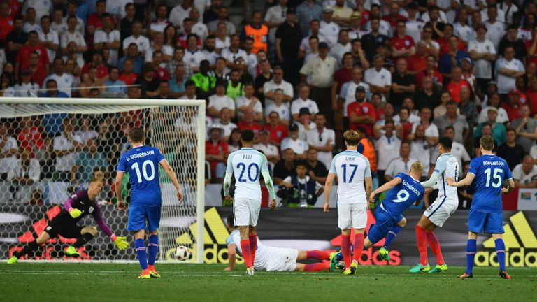 Hart was unable to keep out Kolbeinn Sigthorsson's shot for Iceland