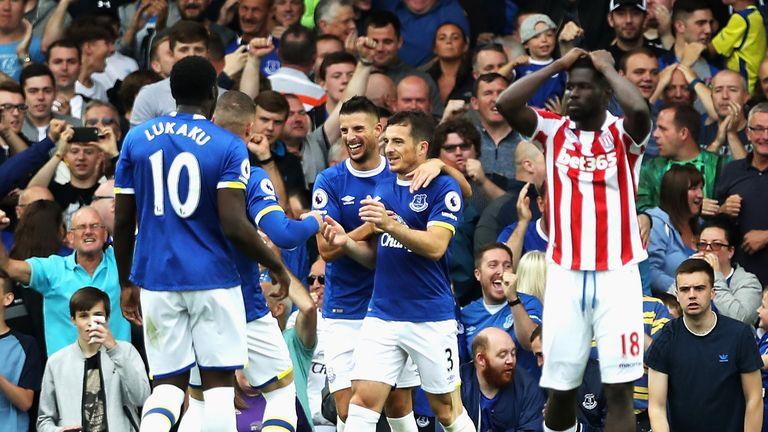 Leighton Baines of Everton celebrates his side's first goal